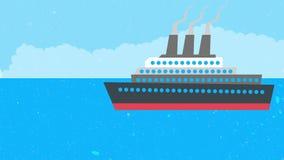 A ship in the ocean.