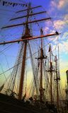 Big ship and mariners on the top of the mast during the Sail Amsterdam 2015 Festival Royalty Free Stock Photo