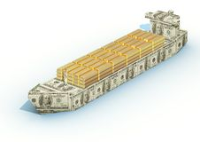 Big ship from a money with cargo of gold ingots Royalty Free Stock Photo