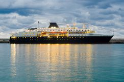 Big ship at night pier Stock Photography