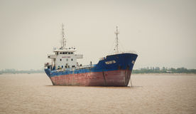 A big ship on the river with cloudy sky in Hai Phong Stock Photography