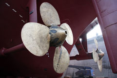 Big ship's propeller in shipyard Royalty Free Stock Images