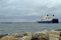Big ship at sea shore in Malmo. Sweden Royalty Free Stock Photo