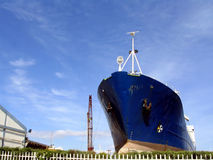Big ship in a shipyard Royalty Free Stock Photography