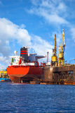 Big ship in a shipyard Royalty Free Stock Images