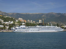 Big ship, town Yalta, Crimea, Black sea Royalty Free Stock Photography