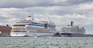 Big ships in Copenhagen royalty free stock images
