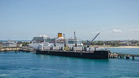 Big ships in the port. In Madagascar Stock Photo