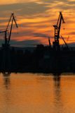 Big shipyard crane at sunset in Gdansk, Poland. Stock Image