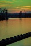 Big shipyard crane at sunset in Gdansk, Poland. Stock Photography