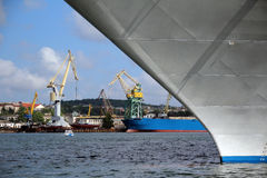 Big shipyard with cranes Stock Images