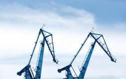 Big shipyard cranes Stock Photos