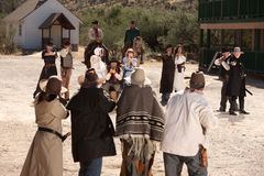 Big Shoot Out. Group of cowboys and gunfighters in an old west shoot out Royalty Free Stock Photos