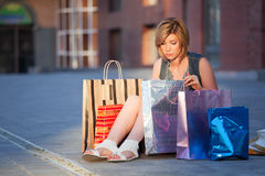 Fashion woman with shopping bags  Stock Photos