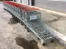 Big Shopping Carts. In parking space Stock Photos