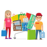 Big Shopping Day of Happy Couple. Cartoon people. Royalty Free Stock Photos