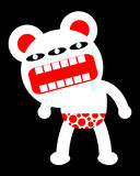 Big Shout Out Bear. A cartoony three eyed bear with red pants shouting Stock Images