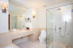 Big shower room in house. Bathroom royalty free stock images