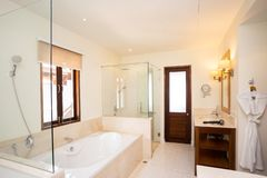 Big shower room in house. Bathroom stock photography