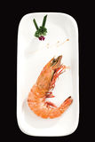A big shrimp on a white plate royalty free stock images