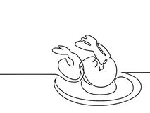 Big Shrimps on plate. Continuous line drawing. Continuous line drawing. Big Shrimps on plate. Vector illustration black line on white background Royalty Free Stock Photography