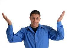 Big Shrug. A happy man gesturing with a big shrug Stock Photos