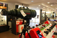 Big sigma lens. Sigma 200-500mm F2.8 EX DG, a huge lens exposed in camera store,F64 in Bucharest,Romania Stock Photos