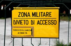 Big sign at military zone in italy Stock Photos