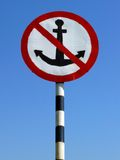 Big sign no anchor Royalty Free Stock Photos