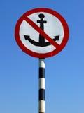 Big sign no anchor. On the river coast Royalty Free Stock Photos