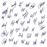 Big Signatures set - group of fictitious contract signatures Stock Photo