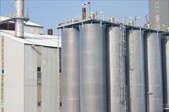 Big silo's of a Dutch factory Royalty Free Stock Photo