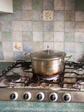 A Big Silver Metal Pan with Lid on And with A Burnt black and Br. Own Bottom Base Resting on Top of Gas Cooker hob with Dials all Turned off, and with bits of Royalty Free Stock Image