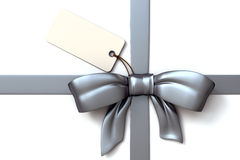 Big Silver ribbon and bow with blank tag. Very high resolution render of an silver gift ribbon and bow with blank tag Stock Image
