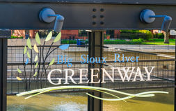 The Big Sioux River Recreation Trail and Greenway Entrance Sign Stock Photos