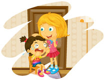 Big sister cheers up when little sister crying Royalty Free Stock Photo