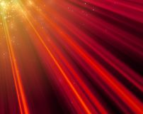 Big size Christmas and New Year mood red light rays background. With star dust falling vector illustration