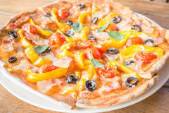 Big size of fresh homemade pizza Royalty Free Stock Image