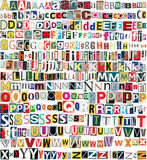 Big size newspaper, magazine clippings alphabet Stock Images
