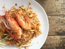 Big size river shrimp on noodle stir fried Stock Photography