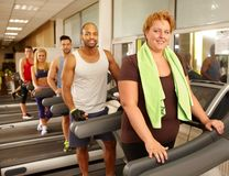 Big size woman in gym Royalty Free Stock Photos