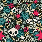 Big skulls and flowers seamless background. Stock Images