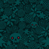 Big skulls and flowers seamless background. Royalty Free Stock Photo