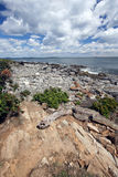Big Sky Maine. This is the rocky coastline of Peaks Island, Maine, near Portland royalty free stock photography