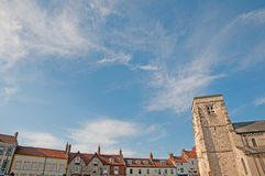 Big sky and malton town. The town and church at malton in Stock Photography