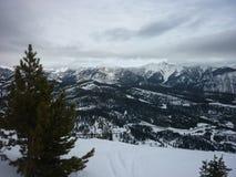 Big Sky Montana. The view while skiing in Big Sky, Montana Stock Photo