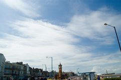 Big sky and morecombe town. Morecombe in lancashire with a big Stock Photography