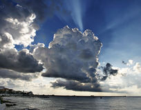 Big sky over Cozumel. Tropical rain clouds in Mexico Stock Images