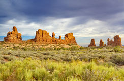 Big sky and pinnacles landscape from Windows View parking in Arc Royalty Free Stock Images