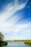 Big sky and the water. The norfolk broads at horsey in england Stock Images